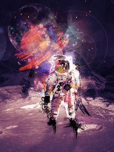 Deep Space  A3 art poster with astronaut by MadeForHomeee on Etsy, €20.00