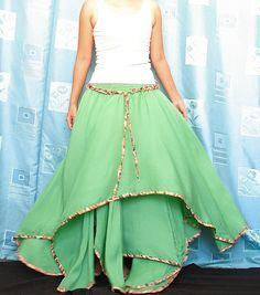A layered circle skirt! I'm in love.    (Circle Maxi Skirt Cotton Hippie Green Women Long by myuniverse)