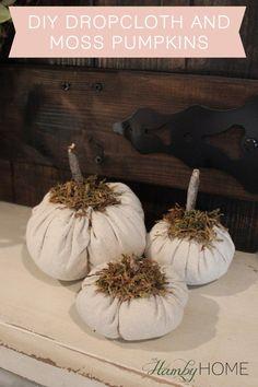 DIY Dropcloth and Moss Pumpkins