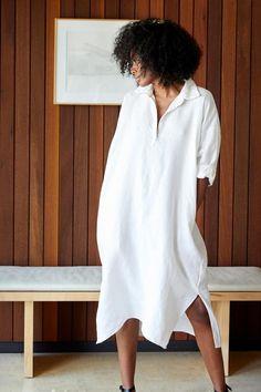 READY TO SHIP – Rachel Craven Jumpsuit Dress, Shirt Dress, The White Album, Little White Dresses, Linen Dresses, Collar Dress, Collars, Tunic Tops, Sleeves