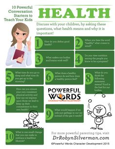 10 Powerful Conversation Starters to Teach Your Kids Health #powerfulwords #parenting #drrobyn