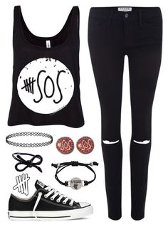 """""""5 Seconds Of Summer"""" by alex-bows ❤ liked on Polyvore featuring Frame Denim, Converse, Areaware, 5sos and 5secondsofsummer"""