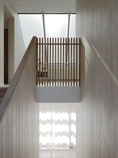Staircase, Wood Tread, and Wood Railing Large windows and skylights provide ample natural light which is reflected off the larch interiors and white ceilings. Photo 9 of 11 in This Swedish Retreat Fuses Scandinavian Vibes With Traditional Barn-Like Style Interior Stairs, Interior Architecture, Interior And Exterior, Interior Design, Wood Railing, Stair Railing, Railings, Bannister, Light Hardwood Floors