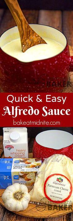 Quick & Easy Alfredo Sauce - make your own delicious alfredo sauce super quick! Italian Recipes, New Recipes, Cooking Recipes, Favorite Recipes, Easy Recipes, Dinner Recipes, Italian Dishes, Homemade Alfredo, Homemade Sauce