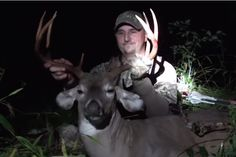 Bowhunter Eric Hale of New Archery Products makes a great shot on a mature mountain buck with light fading to darkness.