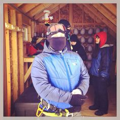 My staff & I getting ready for a COLD morning at the zipline.