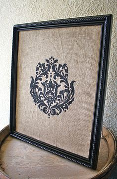 Damask & Burlap Memo Board - I would do the damask stencil in white and put glass over it so I could use a dry erase marker to write messages on it.