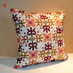 Chinese style embroidered throw pillows for couch flower