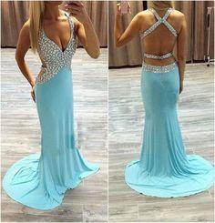 Free Shipping Open Back Prom Dress,Sexy Deep V-neckline Graduation Dress,Backless Beaded Evening Dress,Sexy Straps Occasion Dress