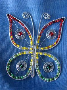 motýlik - brošňa Funky Jewelry, Copper Jewelry, Wire Jewelry, Jewelry Art, Beaded Jewelry, Copper Wire Art, Wire Ornaments, Wire Flowers, Wire Crafts