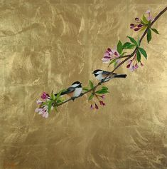 Spring Please Gold Leaf Art, Gold Art, Wall Painting Decor, Jugendstil Design, Chinoiserie Wallpaper, Bird Drawings, Art Pictures, Flower Art, Canvas Art
