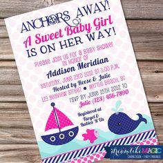 Printable Baby Shower Invitation- Nautical Sweet Baby Girl Design