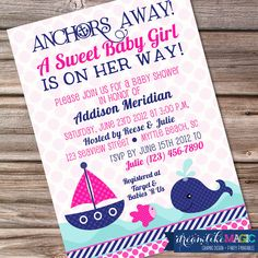 Printable Baby Shower Invitation- Nautical Sweet Baby Girl Design