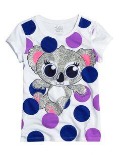 "Justice ""Koala Dot"" girls' T-shirt (custom sized) Justice Girls Clothes, Justice Clothing, Justice Shirts, Justice Stuff, Dance Outfits, Kids Outfits, Cute Outfits, Toys For Girls, Shirts For Girls"