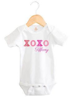 Personalised girls pink chevron bird long sleeve onesie onesies personalised baby girl name xoxo kiss hug onesie negle Gallery