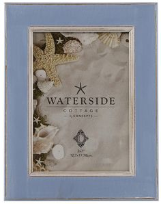 Concepts by Klikel 5x7 Ocean Blue Distressed Wood With Cream Inner Lining Photo Picture Frame Standing or Hanging Horizontal or Vertical * Learn more by visiting the image link-affiliate link. #PictureFrames