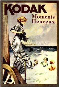 Kodak Happy Moments French Travel Poster Art Print Seaside Riviera Beach   eBay