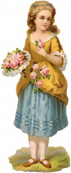 Lovely Vintage Scrap Girl Image! - The Graphics Fairy