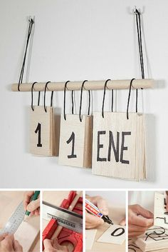 Top 15 DIY Manualidades - Perpetual calendar in wood and DIY decorative cord - Diy Tumblr, Diy Crafts To Do, Home Crafts, Easy Crafts, Wooden Calendar, Diy Calendar, Diy Y Manualidades, Ideias Diy, Paper Gifts