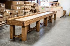 16 Foot Ponderosa Pine Shuffleboard Table | McClure Tables | Rustic handcrafted shuffleboard tables. Made in America handcrafted in Michigan