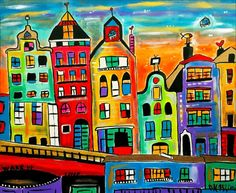 Special Futuristic Amsterdam (2016) Acrylic painting by Maria Luisa Azzini | Artfinder