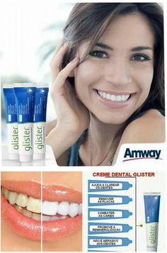 Creme Dental - Glister da Amway Produto concentrado, importado dos EUA. Creme dental Glister, ajuda a clarear sem danificar o esmalte dos dentes, pois não é abrasivo! Diminui expressivamente e até elimina sensibilidade, placa, tártaro, gengivite, aftas, retrações gengivais, etc. Sua exclusiva fórmula Reminact, possui dióxido de titanium, que ajuda na remineralização do esmalte dos dentes, deixando-os mais fortes e resistentes.