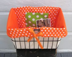 Bicycle Basket Liner Orange Dots