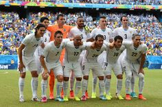 Uruguay players pose for a team photo prior to the 2014 FIFA World Cup Brazil Group D match between Italy and Uruguay at Estadio das Dunas on June 24, 2014 in Natal, Brazil.