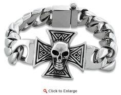 Stainless Steel Iron Cross Skull Bracelet