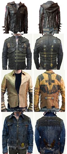 Embellished/recyced jacket variations.  These ideas could also be translated to vests for Act 1, which should generally show more skin than our battle scenes in Act 2.