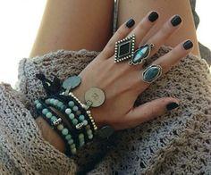 Modern hippie chic stacked bracelets, gypsy style boho silver rings. The BEST Bohemian fashion trends FOLLOW http://www.pinterest.com/happygolicky/the-best-boho-chic-fashion-bohemian-jewelry-gypsy-/
