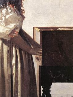 Lady Standing at a Virginal [detail: 2] by Johannes Vermeer #art