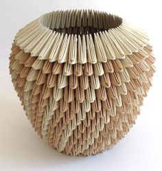 concepts, forms, materials, techniques, and processes related to basketry Origami Box, Paper Crafts Origami, Paper Quilling, Oragami, Contemporary Baskets, Origami Techniques, Cardboard Sculpture, Earth Spirit, Book Folding Patterns