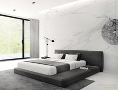 Extravagauza Interiors | Contemporary minimalist bedroom interior design www.extravagauza.... #interiordesign #minimalist #white #bedroom #minimalistinterior #interiordesigner #interiorinspirations #moooi #moooilighting #grey #white #marble