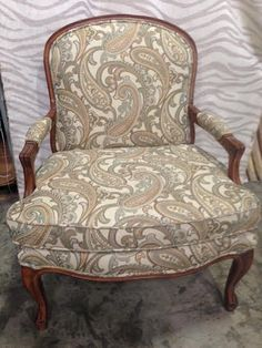 Re-upholstered chair using our fabric and workroom