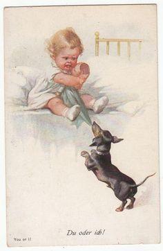 "Artist PC Fialkowska: Baby fights Dachshund for her doll, ""DU Oder ICH"" (YOU OR I) C 1920 | eBay"