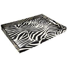 Zebra Faux Leather Tray (120 CNY) found on Polyvore