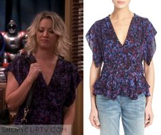 Big Bang Theory: Season 9 Episode 22 Penny's Purple Floral V Neck Top