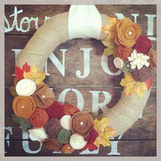 Fall wreath, Thanksgiving wreath, rustic Fall wreath, Burlap wreath, felt flower wreath