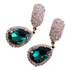 Free Shipping  New Fashion blue/ green CZ Full rhinestone Crystal gem water  drop earrings for women