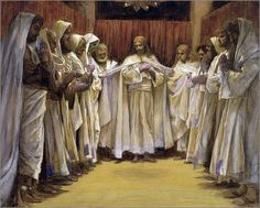 Christ with the Apostles by James Tissot, ca. 1895. Since Judas is missing, this must depict the group just before Jesus left for Gethsemane.