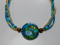 Copper and Teal Seed Beaded Necklace  Free by SLeeKBeadedJewelry, $22.00