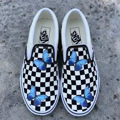 Checkerboard Slip On VansButterflies are not paintedBrand new with Box and TagsEach individual pair is handcrafted to orderFinal Sale. Non refundable/ No Exchanges.Turn around time weeks + Shipping Time (subject to change without not. Sneaker Outfits, Converse Sneaker, Puma Sneaker, Vans Slip On Shoes, Custom Vans Shoes, Slip On Sneakers, Custom Slip On Vans, Cc Shoes, Prom Shoes