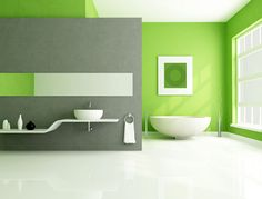 This bathroom paint idea is hot and exciting using the bright red and strong blues to create an incredibly colorful and lively bathroom experience. Description from minneapolispaintingcompany.com. I searched for this on bing.com/images