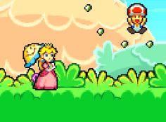 Super Princess Peach. Luigi, Super Princess Peach, Princesa Peach, Super Mario World, Gifs, Mario Bros, Pixel Art, Bowser, Nintendo