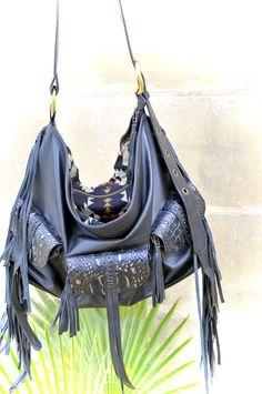 5653ca9fa0365 Black leather bag~ Black leather handbag~ Black leather Purse~ Boho leather  bag~ MELUSINE
