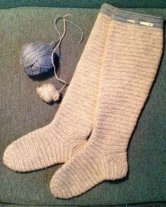 Nalbinded knee high socks. Finnish stich. Natural grey and a little bit of woad.