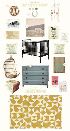 pony baby nursery inspiration board    For E later on or maybe for a hypothetical next kid.