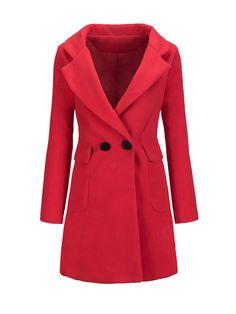 Lapel Flap Pocket Plain Woolen Coat Only $33.95 USD More info...