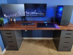 Ikea Gaming Desk, Computer Gaming Room, Computer Desk Setup, Gaming Room Setup, Pc Desk, Home Office Setup, Home Office Design, Small Home Offices, Bedroom Setup